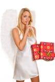 Engel für Weihnachten mit Paketen und Geschenken. Stockbild