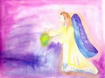 Engel fliegt eine Aquarellzeichnung Stockbild