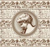 Engel Gebed retro Het kind van de jongensbaby Kaderkaart Tekening, gravure stock illustratie