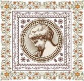 Engel Gebed retro Het kind van de jongensbaby Kaderkaart Tekening, gravure Uitstekende realistische bloemen als achtergrond Vecto vector illustratie