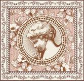 Engel Gebed retro Het kind van de jongensbaby Kaderkaart Tekening, gravure Uitstekende realistische bloemen als achtergrond Vecto royalty-vrije illustratie