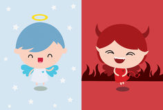 Engel gegen Teufel Stockfotos