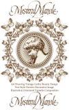 Engel Het kind van de jongensbaby Vlinders Barok kader Tekening, gravure Het uitstekende realistische huwelijk van de kaartdank v royalty-vrije illustratie