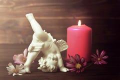 Engel, kaars en bloemen stock foto