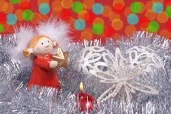 Engel, Kerstboomdecoratie, en kleurrijke gloed van licht stock fotografie