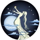 Engel in maanlicht Royalty-vrije Stock Foto's