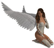 Engel met Donkerbruin Haar Royalty-vrije Stock Fotografie