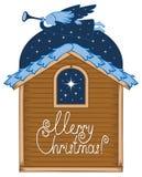 Engel met een trompet en een Kerstmisster vector illustratie