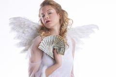 Engel met geld royalty-vrije stock foto
