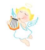 Engel met harp stock illustratie