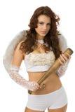 Engel met knuppel Stock Afbeelding