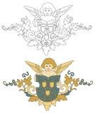 Engel met schild oude decoratie Royalty-vrije Stock Fotografie