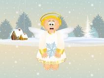 Engel met sneeuwvlok Stock Fotografie