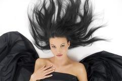 Engel met zwart haar stock afbeelding