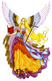 Engel mit Bibel und Kreuz Stockbilder