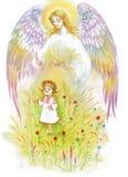 Engel mit den Flügeln, die über Baby fliegen lizenzfreie abbildung
