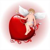 Engel mit einem Pfeil auf Herzen vektor abbildung