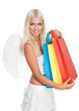 Engel mit Einkaufenbeuteln Stockbilder