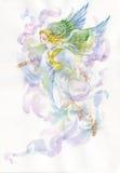 Engel mit Flügelaquarellillustration Lizenzfreies Stockbild