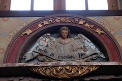 Engel mit Gloria im excelsis Deo Banner Lizenzfreie Stockbilder