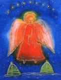 Engel mit heller Kerze. Stockfoto