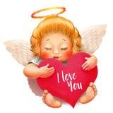 Engel mit Nimbus, weißen Flügeln und geschlossenen Augen Großes Herz mit Text ich liebe dich in der Hand Valentinsgrußtagescharak Stockbild