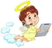 Engel mit Tablette stock abbildung