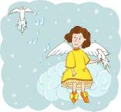 Engel mit Tauben im Himmel Stockfoto