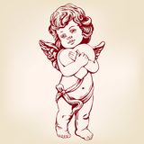 Engel oder Amor, kleines Baby hält ein Herz, Valentinsgrußtag, Liebe, gezeichnete realistische Vektorillustration der Grußkarte d vektor abbildung