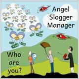 Engel Slogger Manager Schaduwen van grijze Illustratie Royalty-vrije Stock Foto
