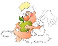 Engel und Apfel Stockbild
