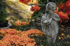 Engel und Blumen stockfotografie