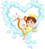 Engel und Harfe stock abbildung