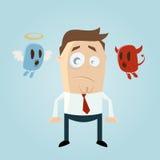 Engel und Teufel, die einen durchdachten Karikaturmann beeinflussen Lizenzfreie Stockbilder