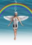 Engel unter dem Regenbogen Stockfoto