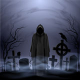 Engel van dood in de begraafplaats stock illustratie