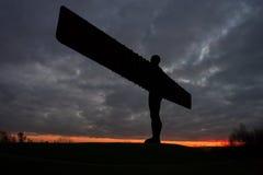 Engel van het Noorden - zonsondergang Stock Foto