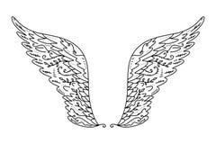 Engel of vogelvleugels Uitstekende ontwerpelementen Sier kleurend element en tatoegeringsmalplaatje Vector illustratie royalty-vrije illustratie