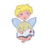 Engel weinig jongen met boek en pen Stock Afbeelding