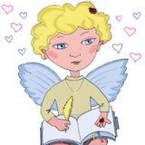 Engel weinig jongen met boek en pen Royalty-vrije Stock Foto's