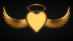 Engelachtig gouden hart voor de dag van de valentijnskaart 3D Illustratie vector illustratie