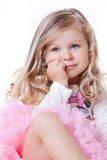Engelachtig weinig blonde meisje stock afbeelding