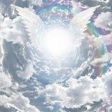 Engelachtige aanwezigheid en tunnel van licht Stock Afbeeldingen