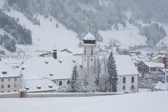 Engelberg Abbey in winter. Engelberg Abbey (Benedictine Monastry) in winter. Landmark of Engelberg ski resort. Close to Titlis mountain, canton Obwalden royalty free stock image