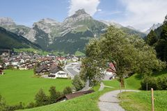 The village of Engelberg on the Swiss alps. Engelberg, Switzerland - 1 August 2017: the village of Engelberg on the Swiss alps Royalty Free Stock Images