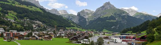 The village of Engelberg on the Swiss alps. Engelberg, Switzerland - 1 August 2017: the village of Engelberg on the Swiss alps Royalty Free Stock Photos