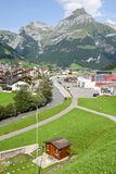The village of Engelberg on the Swiss alps. Engelberg, Switzerland - 1 August 2017: the village of Engelberg on the Swiss alps Royalty Free Stock Photo