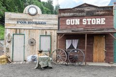 Shops of a wild west cowboy town Royalty Free Stock Photo