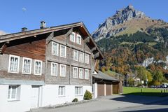 Wooden chalet at Engelberg on the Swiss alps. Engelberg, Switzerland - 15 October 2017: wooden chalet at Engelberg on the Swiss alps Royalty Free Stock Image