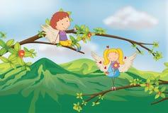 Engelen bij de tak van een boom royalty-vrije illustratie